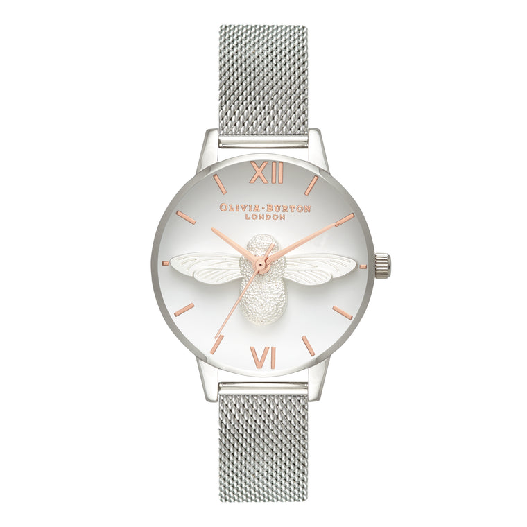 Olivia Burton - 3D Bee Rose Gold & Silver Watch