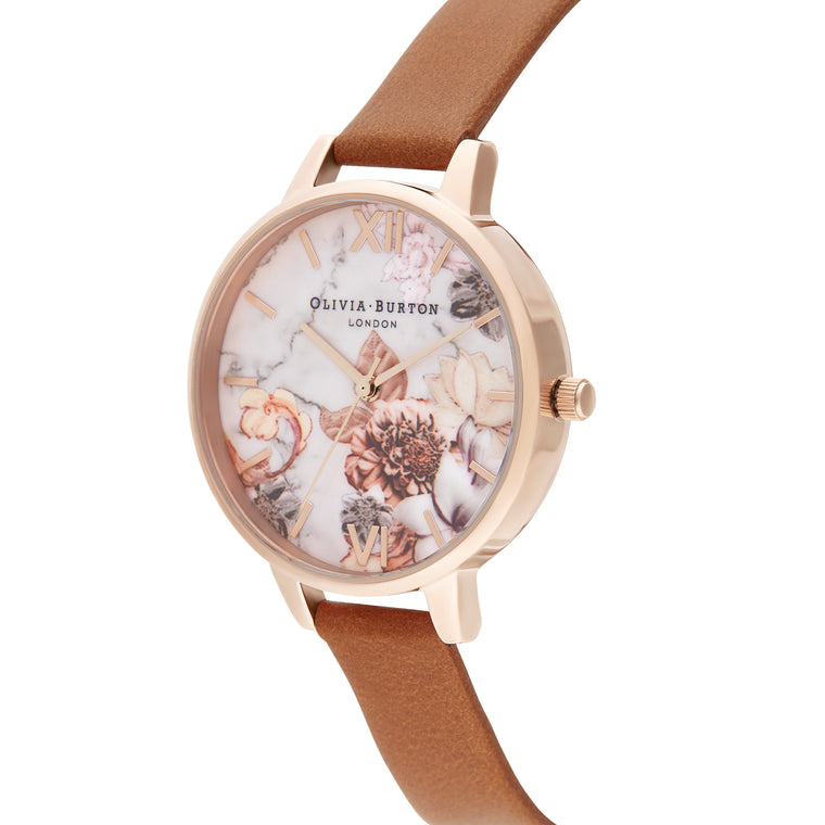 Marble Florals Honey Tan & Rose Gold Watch