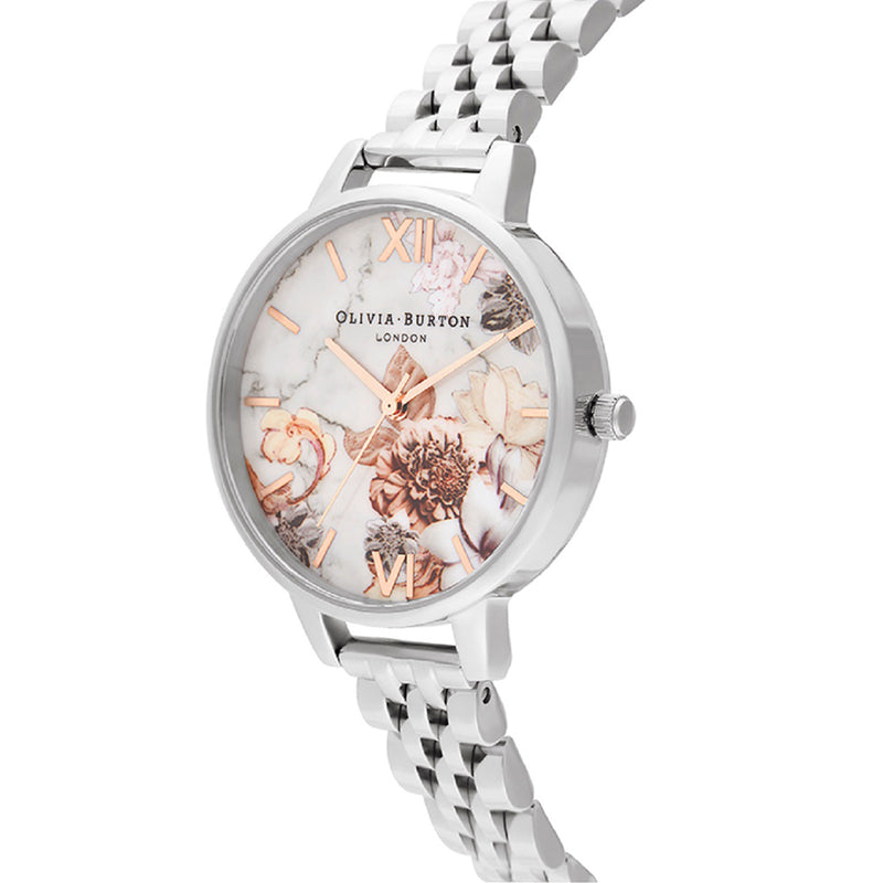 OLIVIA BURTON - Marble Florals Silver & Rose Gold Watch