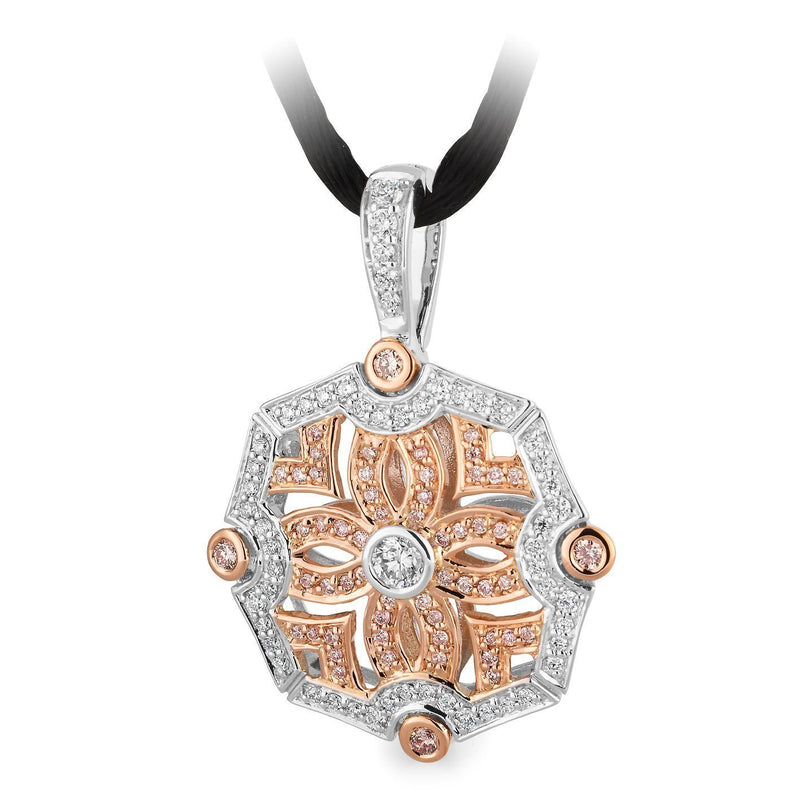 PINK CAVIAR 0.81ct Pink Diamond Pendant in 9ct Rose & White Gold