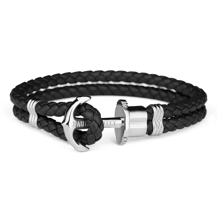 Paul Hewitt Phrep Leather Black / Silver Bracelet