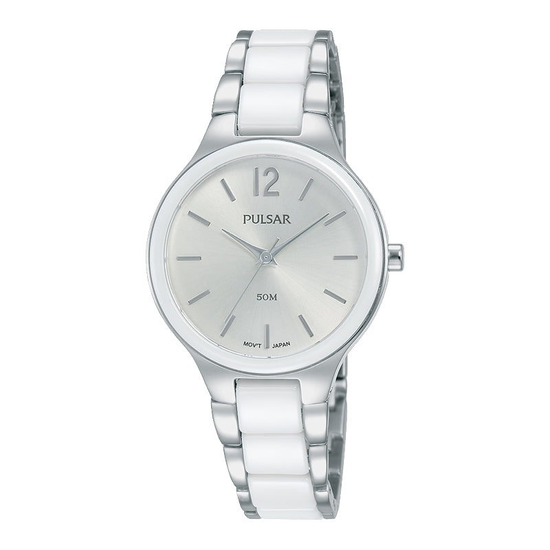 Pulsar - Ladies Silver & White Ceramic Watch
