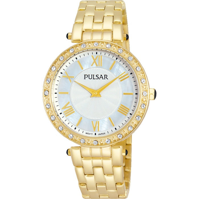 Pulsar - Ladies Stone Set Gold Watch