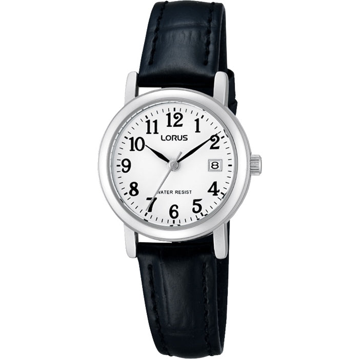 Ladies Silver Leather Watch