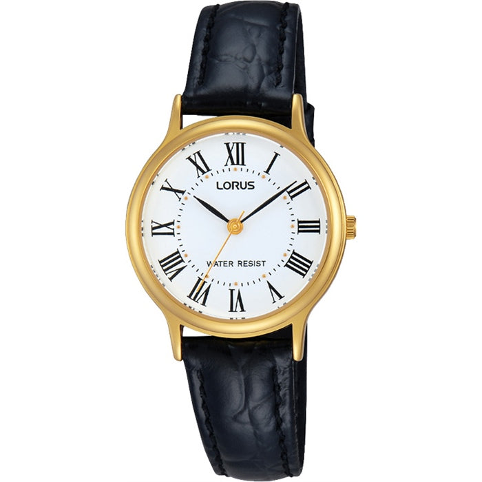 Ladies Gold Leather Watch