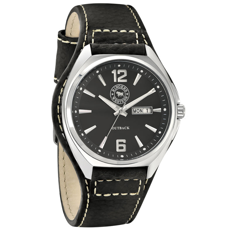 Ringers Western - Outback Black Leather Mens Watch