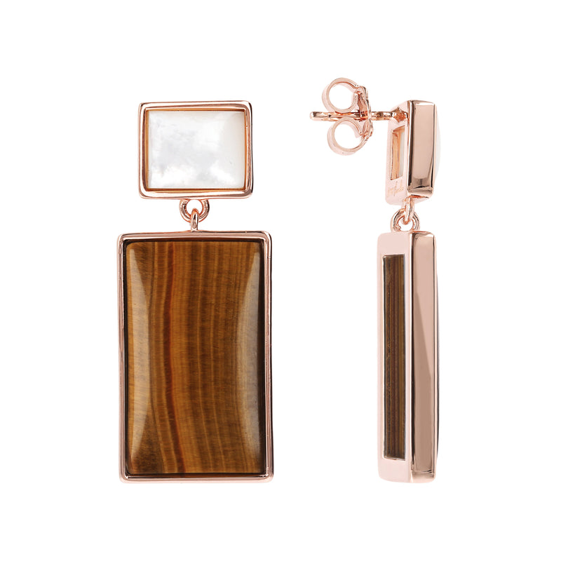 Bronzallure Mother of Pearl & Tiger Eye Rectangular Earrings