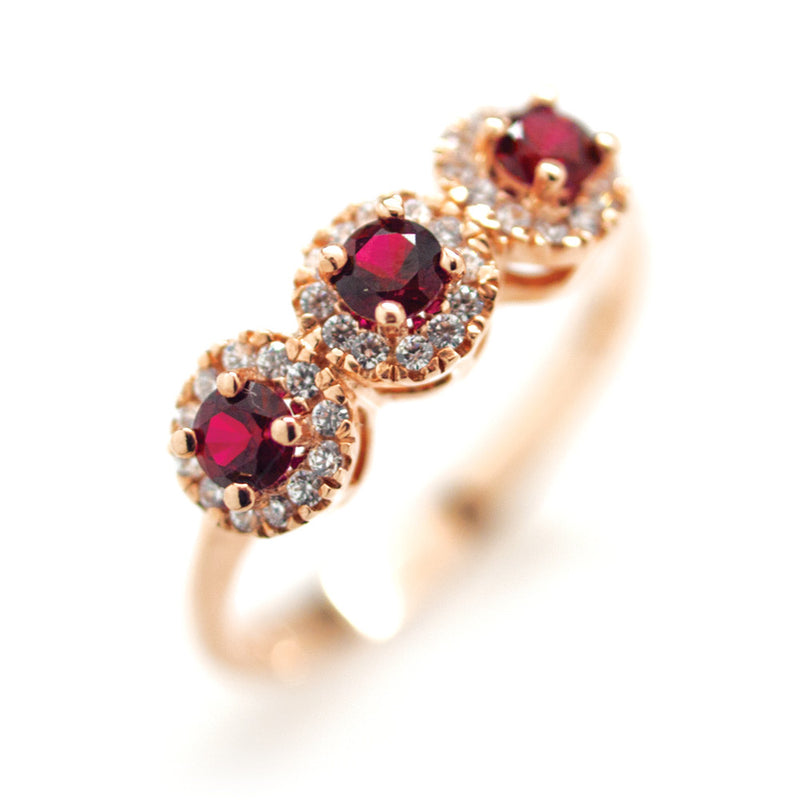 9ct Gold Ruby & Cubic Zirconia Ring