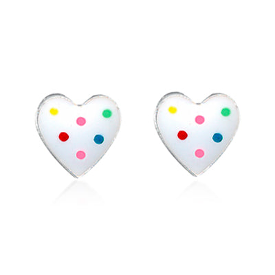Sterling Silver & Enamel Heart Earrings