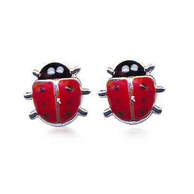 Silver & Enamel Lady Bird Earrings