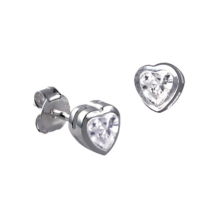 Silver CZ Heart Earrings