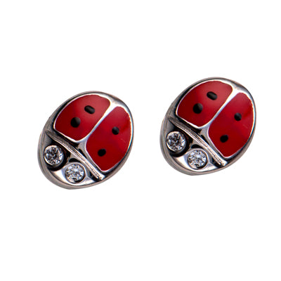 Silver, Enamel & CZ Lady Bird Earrings