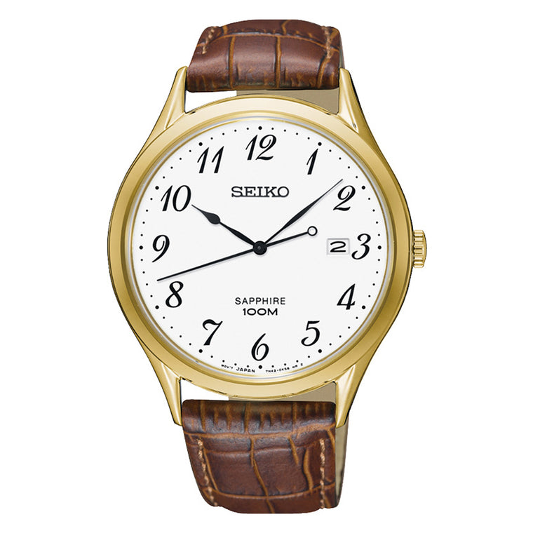 Gents Gold Leather Watch