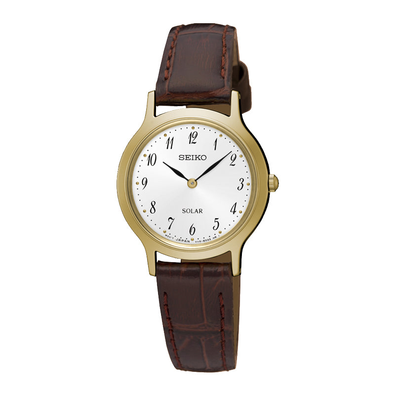 SEIKO - Ladies Gold Leather Solar Watch