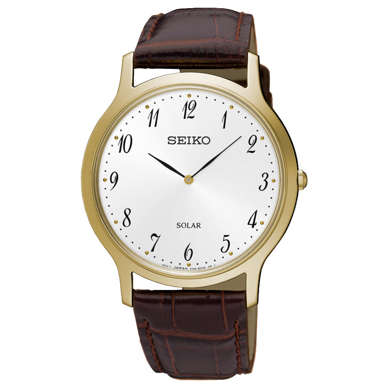 Seiko - Gents Gold Leather Watch