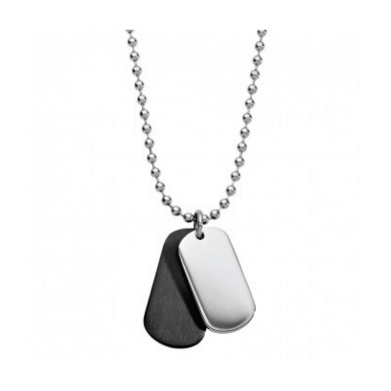 Blaze - Black & Stainless Steel Double Dog Tag