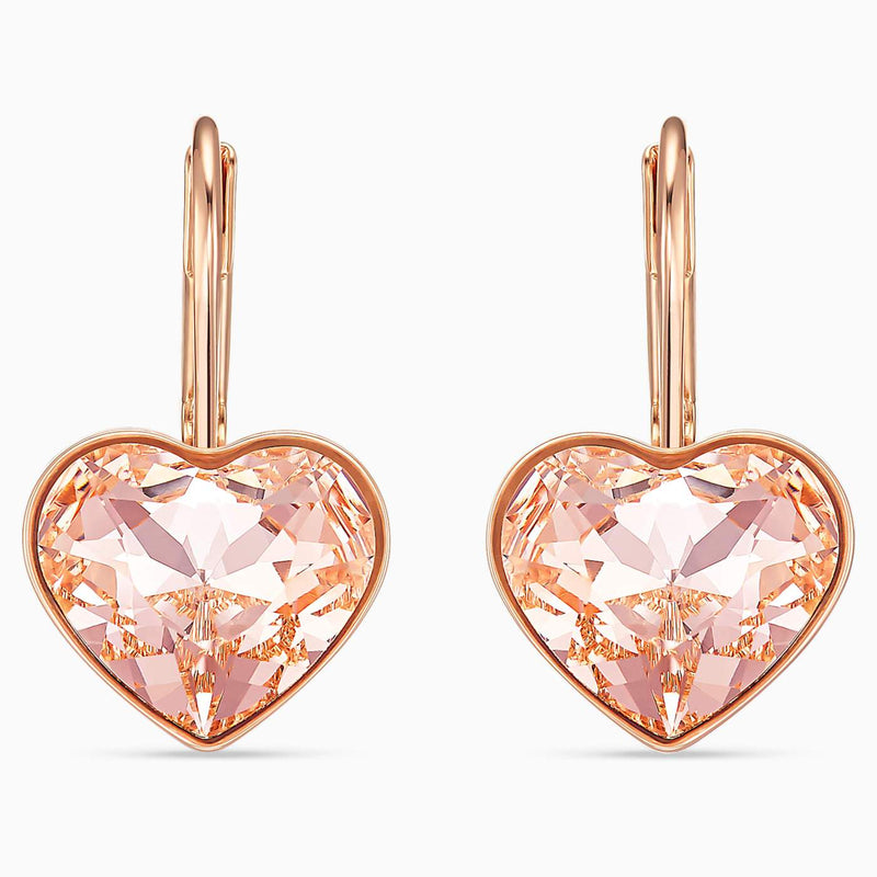 SWAROVSKI Rose Gold Bella Heart Pierced Earrings -  Pink