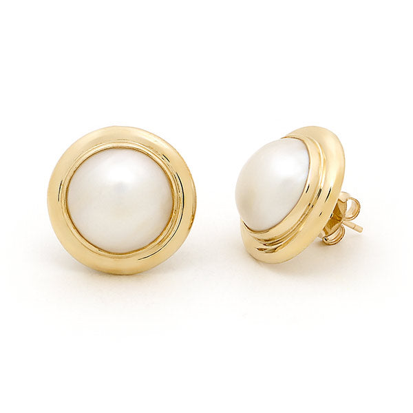 9ct Yellow Gold Mabe Pearl Earrings