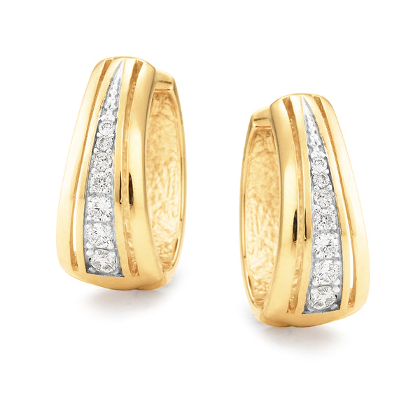 9ct Yellow Gold Tapered Diamond Huggie Earrings