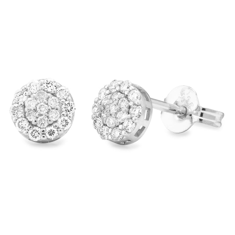 Diamond Cluster Studs in 9ct White Gold