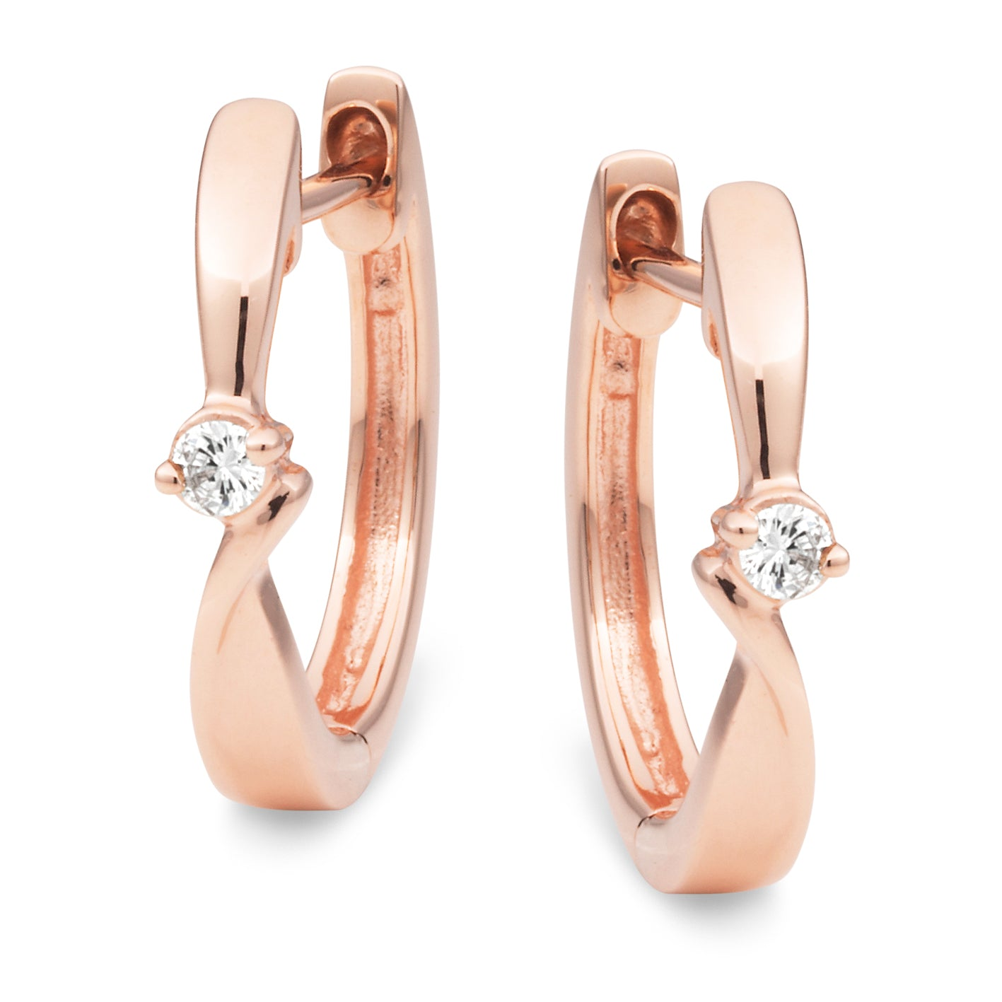 9ct Rose Gold Diamond Huggie Earrings