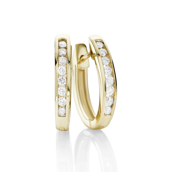 Brilliant cut quarter carat yellow gold Diamond Huggies
