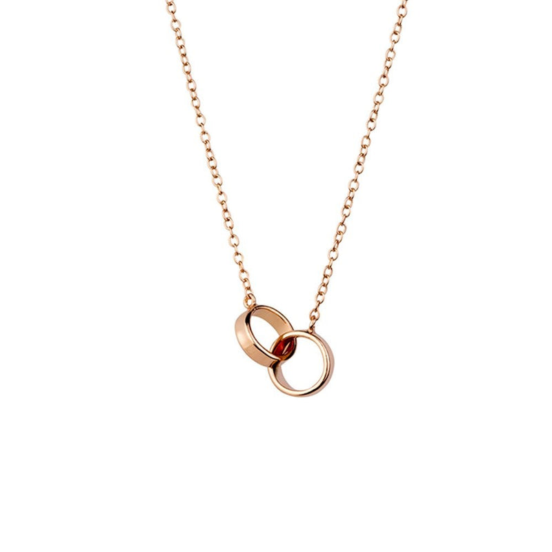 Rose Gold Plated Double Ring Necklace