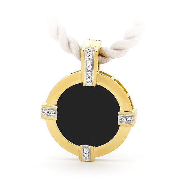 Onyx & Diamond Enhancer in 9ct Yellow Gold