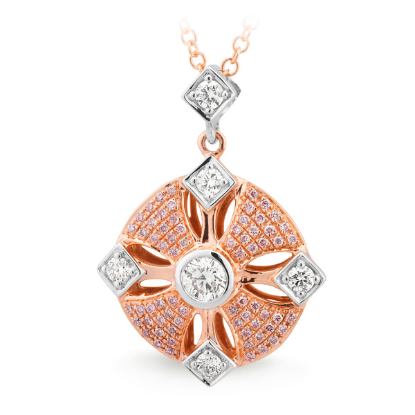 9ct Yellow & White Gold Pink & White Diamond Pendant