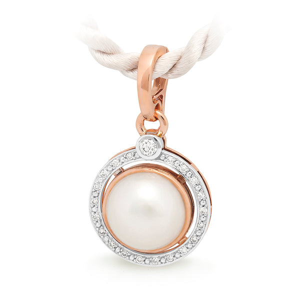 9ct Two Tone Mabe Pearl & Diamond Enhancer Pendant