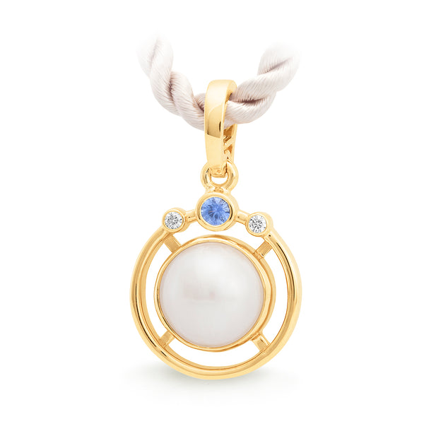 9ct Yellow Gold Mabe Pearl, Ceylon Sapphire & Diamond Enhancer Pendant