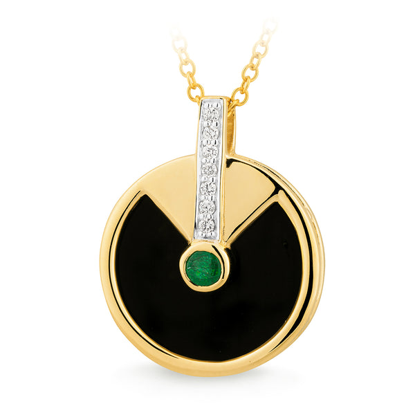 9ct Yellow Gold Onyx, Natural Emerald & Diamond Pendant