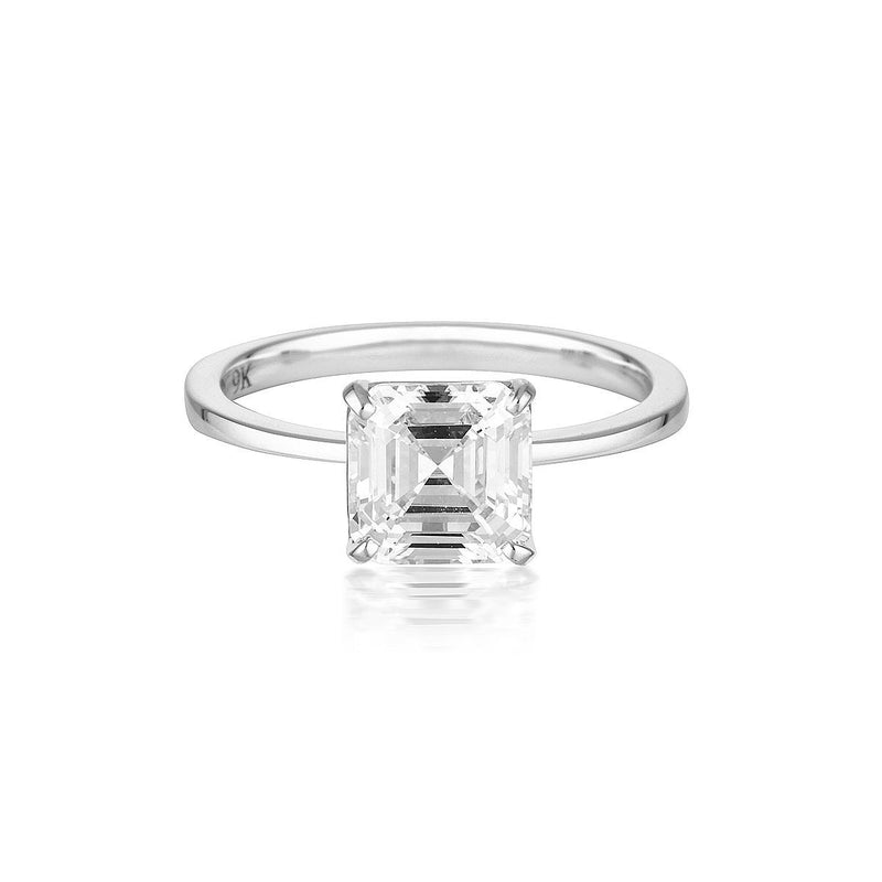 Georgini - Emerald Cut Solitaire 1.5Ct Cubic Zirconia Engagement Ring In 9Ct White Gold