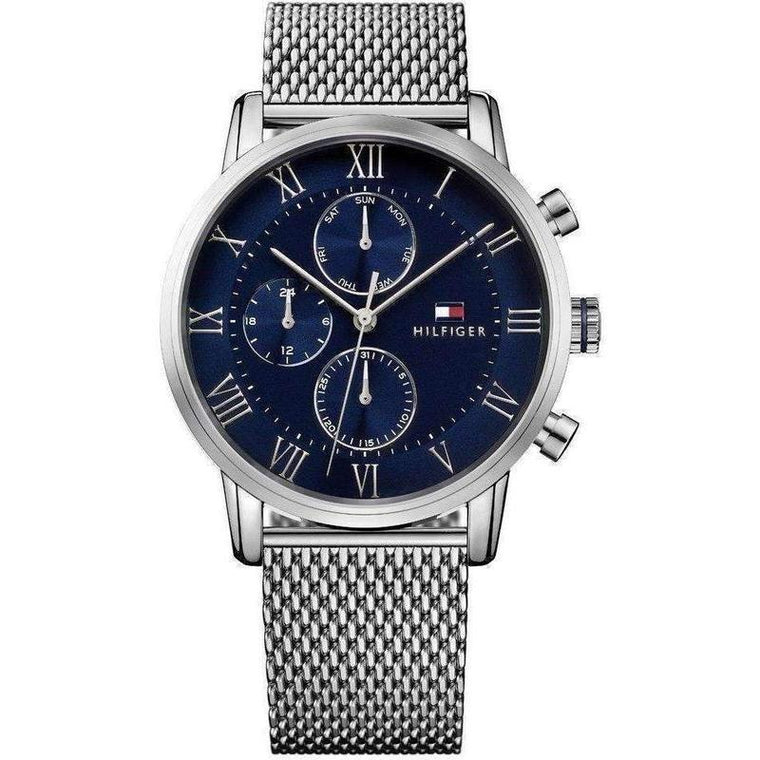 Gents Multifunction Silver Mesh Watch