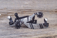 SP104 Black Engraved Spur With Rope Trim