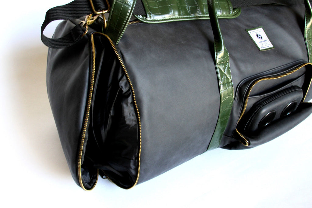 Matte Black with Faux Alligator Duffle Bag-Duffel Bag-JammyPack