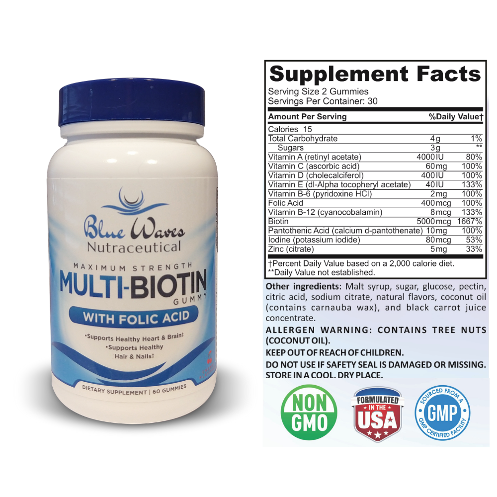 Multi-Biotin w/ Folic Acid | 60 Gummies