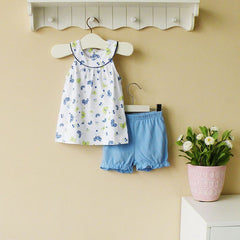 2-piece top & shorts set - Blue butterfly