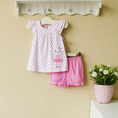 2-piece top & shorts set - pink kitty