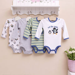 4-pack long-sleeves bodysuits gift set - Penguin