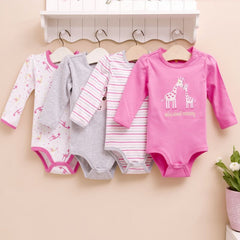 4-pack long-sleeves bodysuits gift set - Giraffe