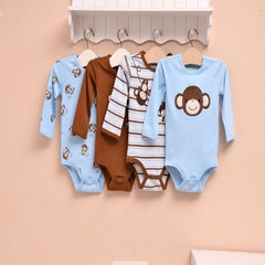 4-pack long-sleeves bodysuits gift set - Monkey