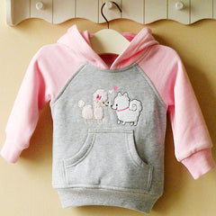 Girl's Hoodie with front pocket - Cute puppies