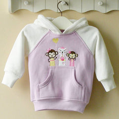 Girl's Hoodie with front pocket - Kitty and monkeys