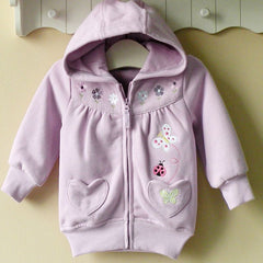 Baby girl/Girl's Hoodie with zipper - Purple flowers