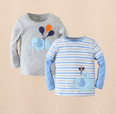 2pk long sleeves tee - Blue elephant