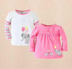 2pk long sleeves tee - Pink elephant