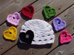 Handmade Crochet Beanie with 7 Hearts