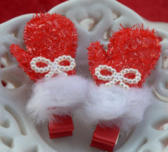 Handmade children Christmas winter gloves hair clip