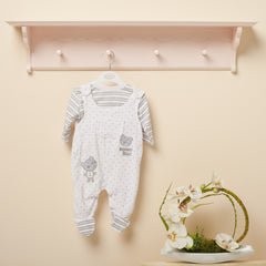 Baby 2-piece set: Stripe tee with footed dungarees